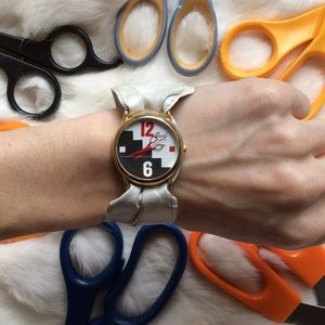 Hairdresser Scissor Leather Vintage 1980's Watch